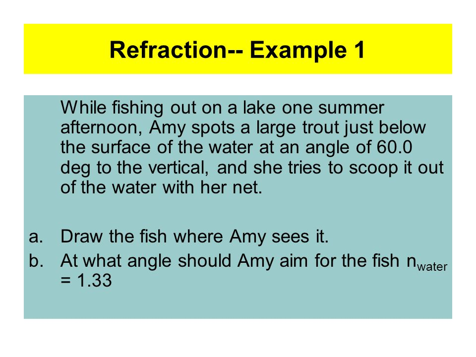 Refraction-- Example 1