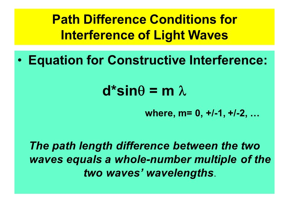Path Difference Conditions for Interference of Light Waves