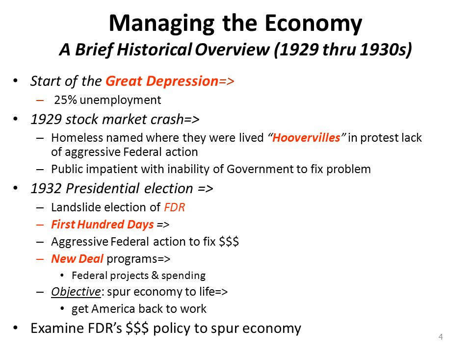 an overview of the brief economic history and government policy Monitoring the economy currently  the office of economic policy monitors key economic indicators to produce the following summary tables  us government.