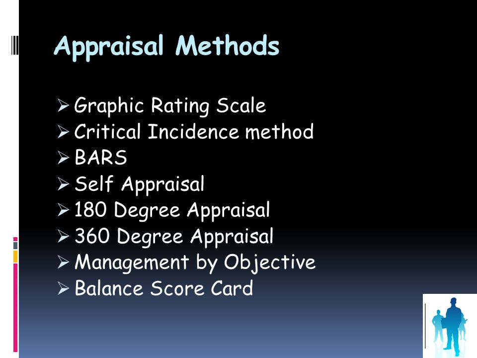 Appraisal Methods Graphic Rating Scale Critical Incidence method BARS