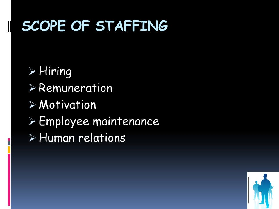Scope of Staffing Hiring Remuneration Motivation Employee maintenance