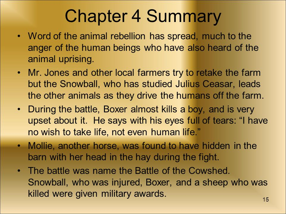 a summary of animal farm Plot summary of animal farm by george orwell part of a free study guide by  bookragscom.