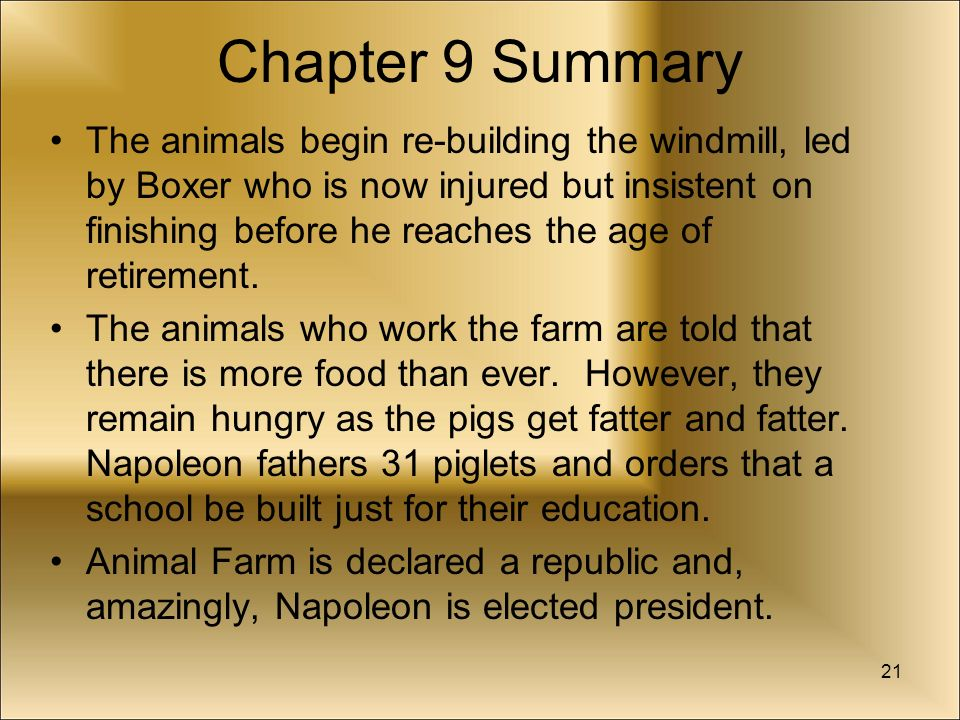 animal farm chapter notes In the fifth chapter of 'animal farm' by george orwell, we learn about the power struggle between the leaders of animalism and the consequences.