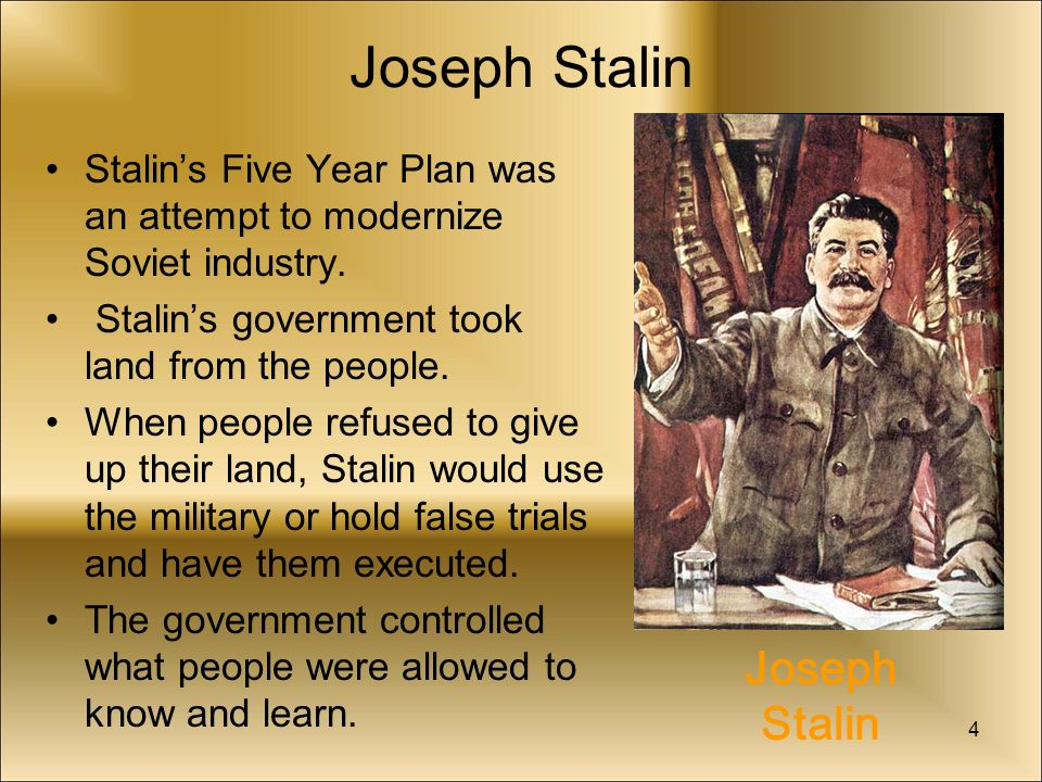 stalin s five year plan Stalin's five-year plans stalin realised that if russia was to become a key player in the global market, the country needed to industrialise rapidly and increase.