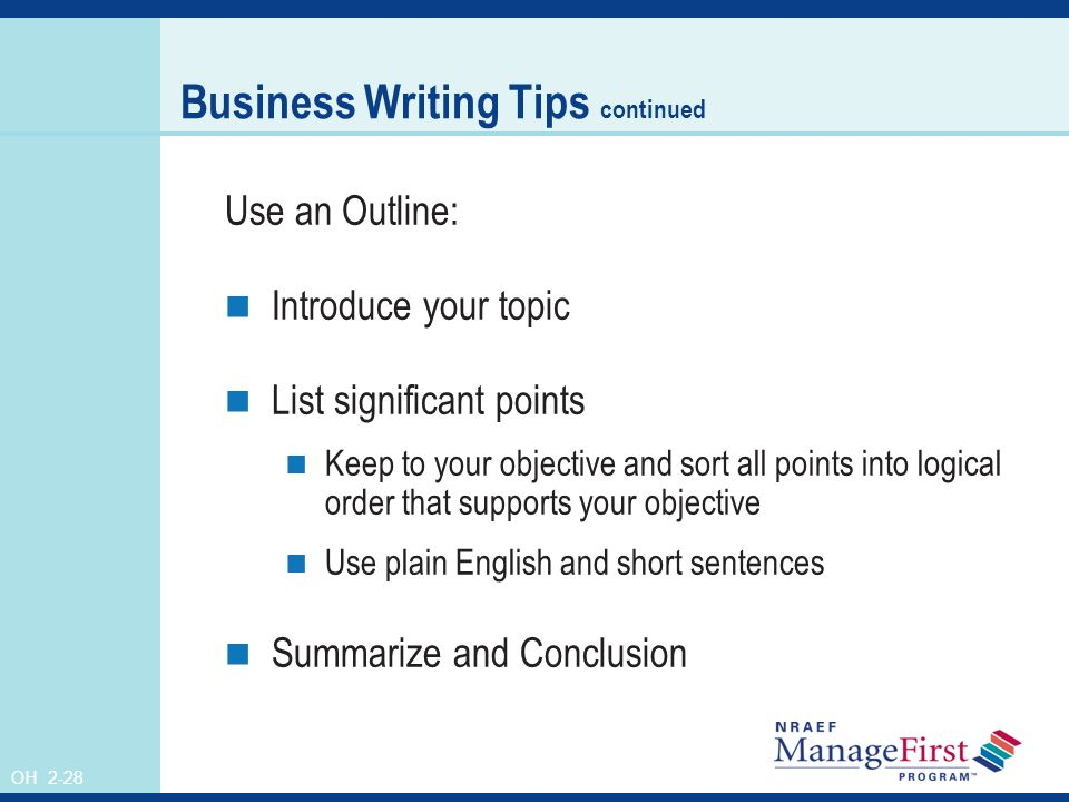 Business writing tip of the day graphic