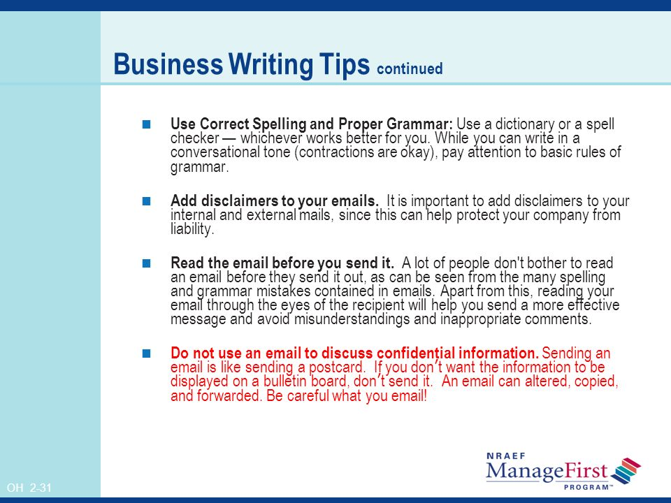 business writing email tips for business
