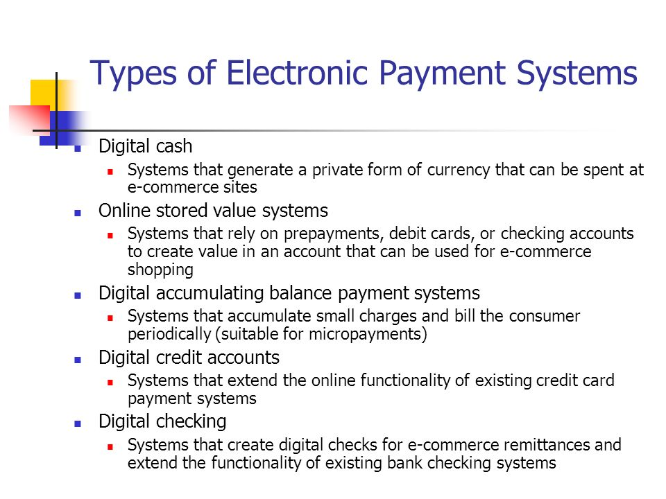 Electronic Payment Systems Ppt Video Online Download