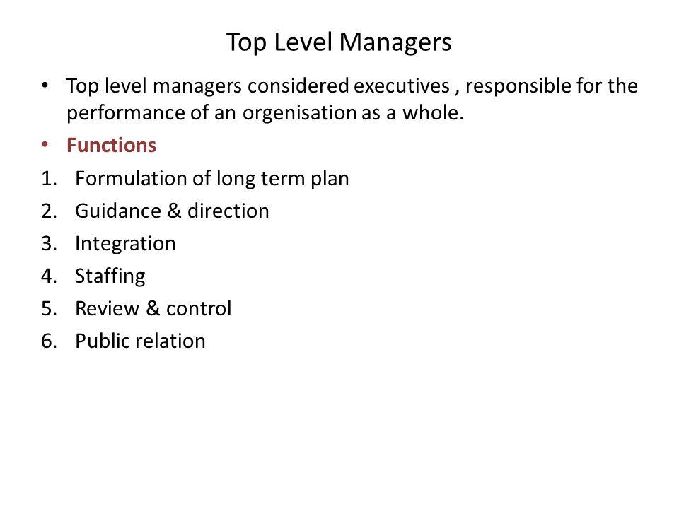 top level management functions essay