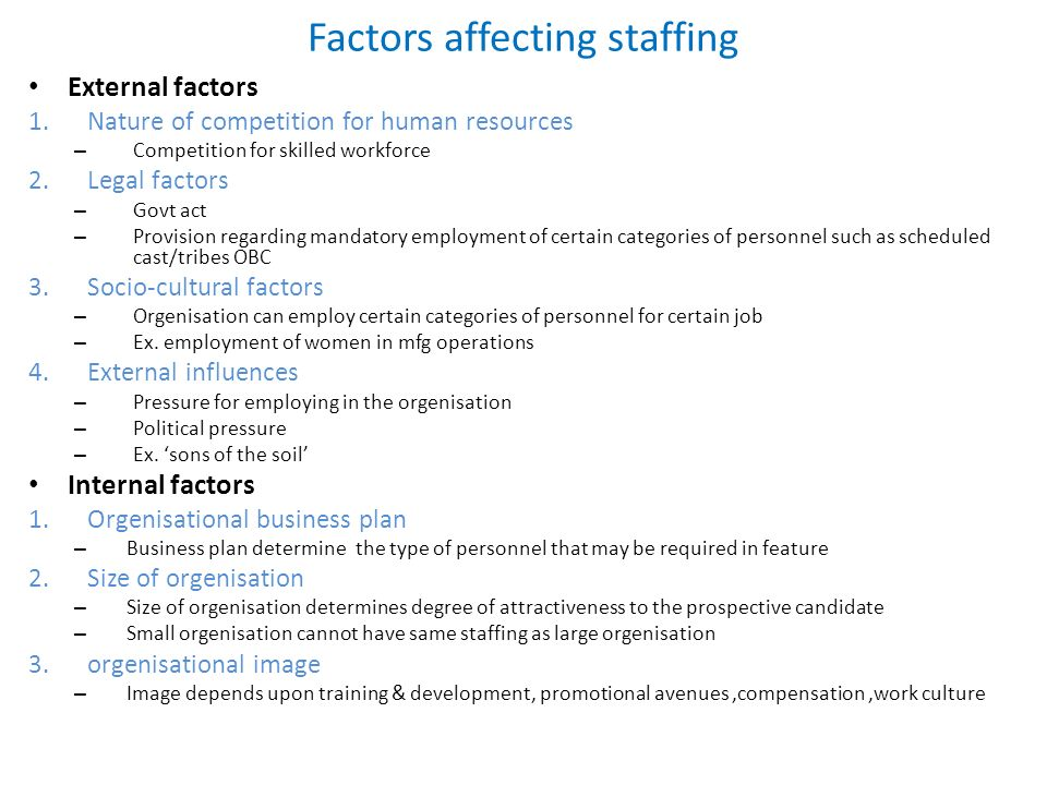 what are external factors affecting staffing Factors affecting staffing levels and patterns of nursing personnel / harry d  levine and p joseph phillip main author: levine, harry d related names:  phillip.