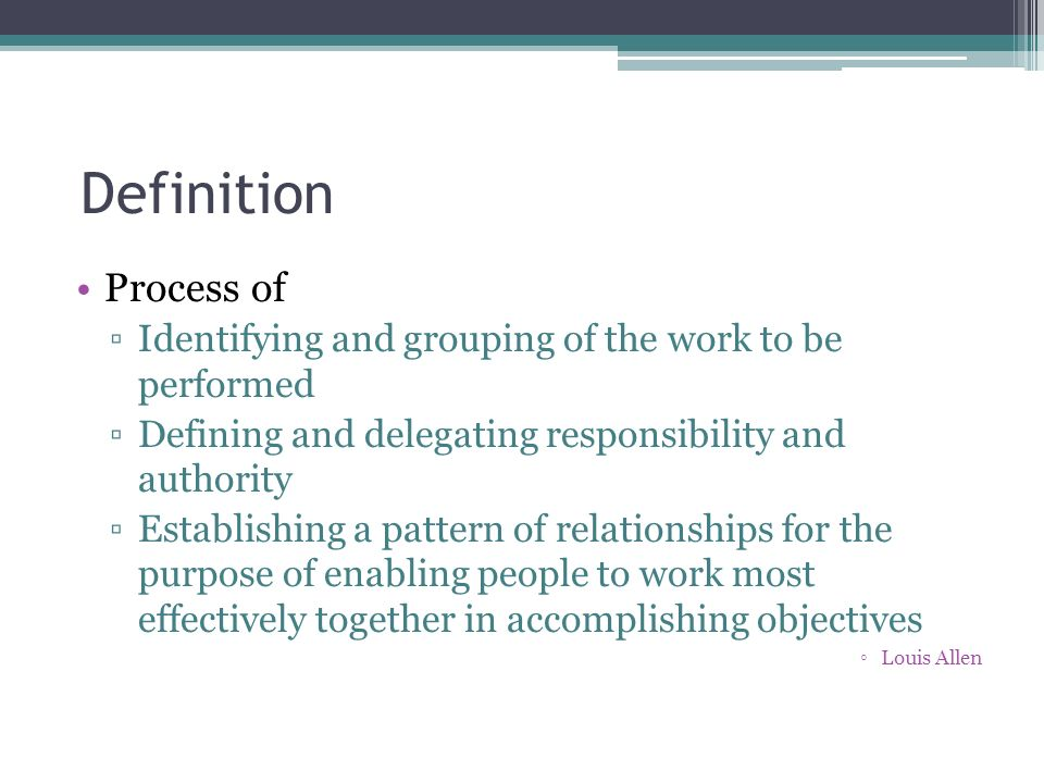 Definition Process of. Identifying and grouping of the work to be performed. Defining and delegating responsibility and authority.