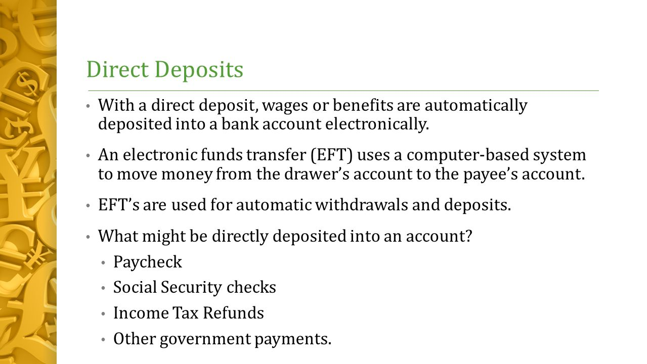 how to make a direct deposit to bank account