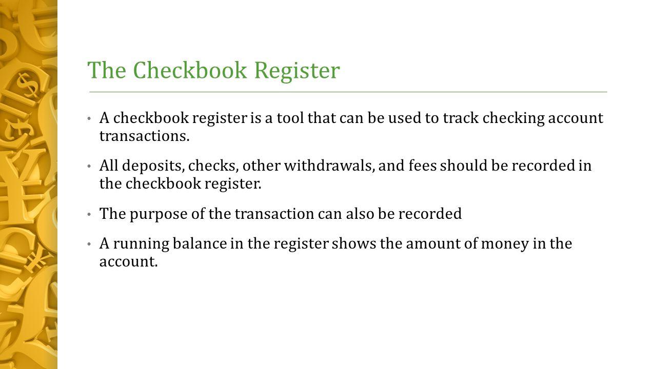 checking account transaction register