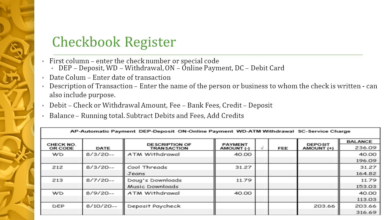 check and deposit register