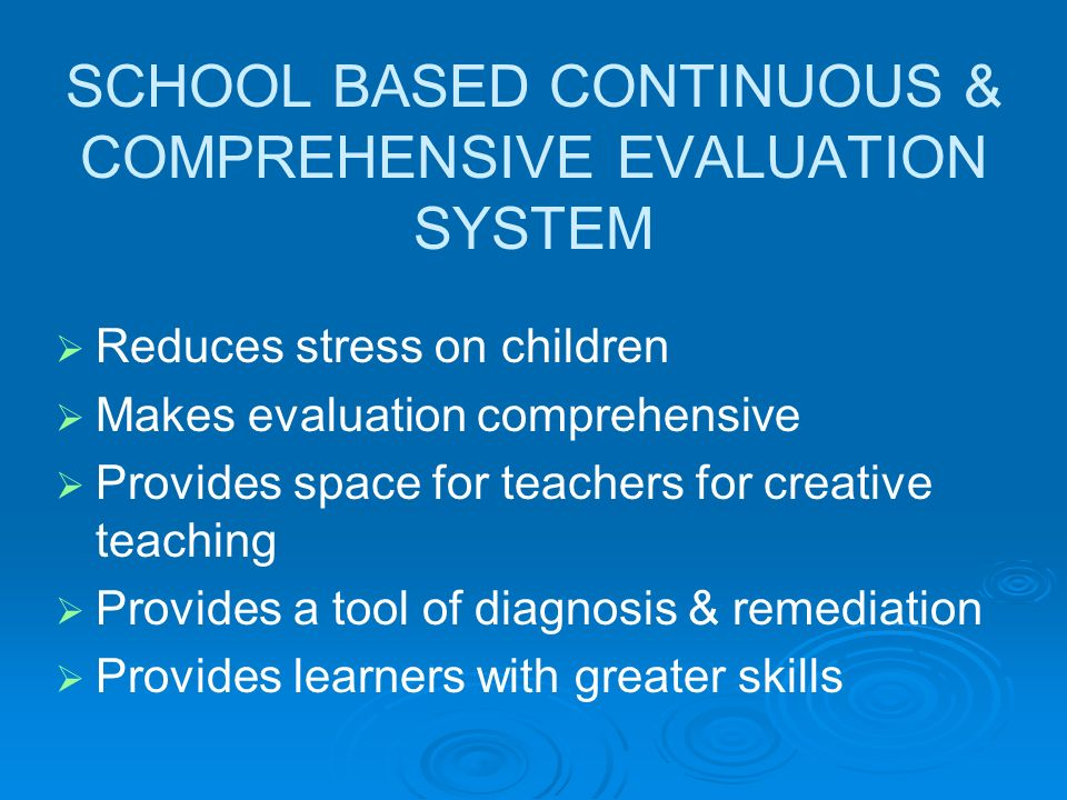 School Based Continuous and Comprehensive Evaluation in CBSE