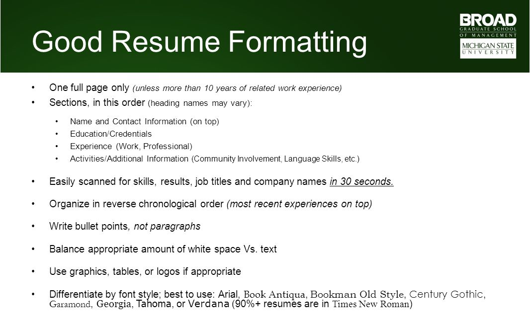 Good Resume Formatting