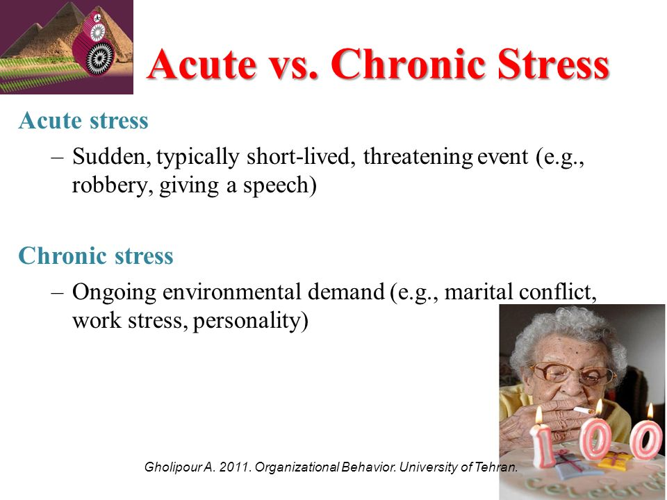 acute stress vs chronic stress essay Stress can come from many different places and be short-lived or long-lasting based on the factors.
