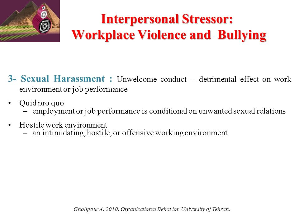 organizational behavior and sexual harassment Predicting the decision to report sexual harassment: organizational influences and the theory of planned behavior  heather m clarke  memorial university of.