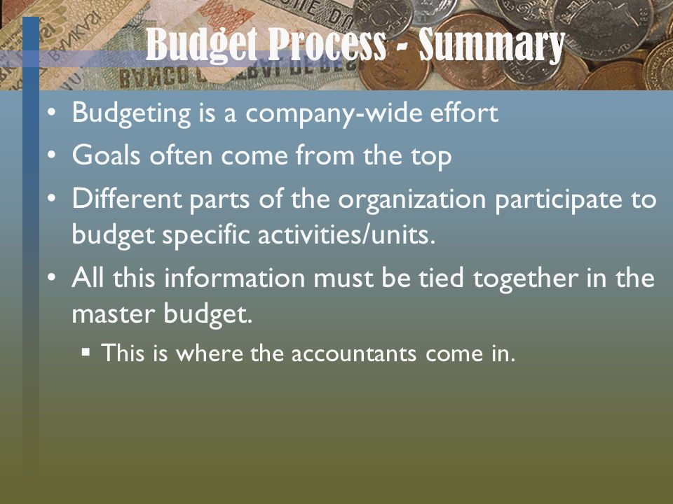 a look at the budgeting process Effective company leaders institute a rigorous budgeting process that ensures all departments align their programs to achieve the company's strategic objectives part of the process involves .