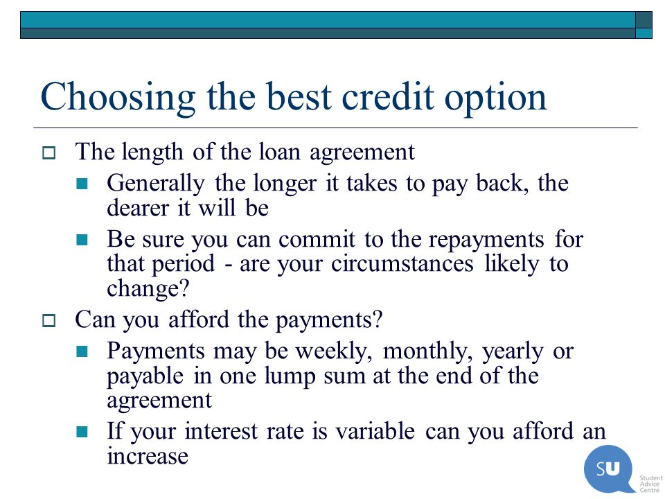 Choosing the best credit option