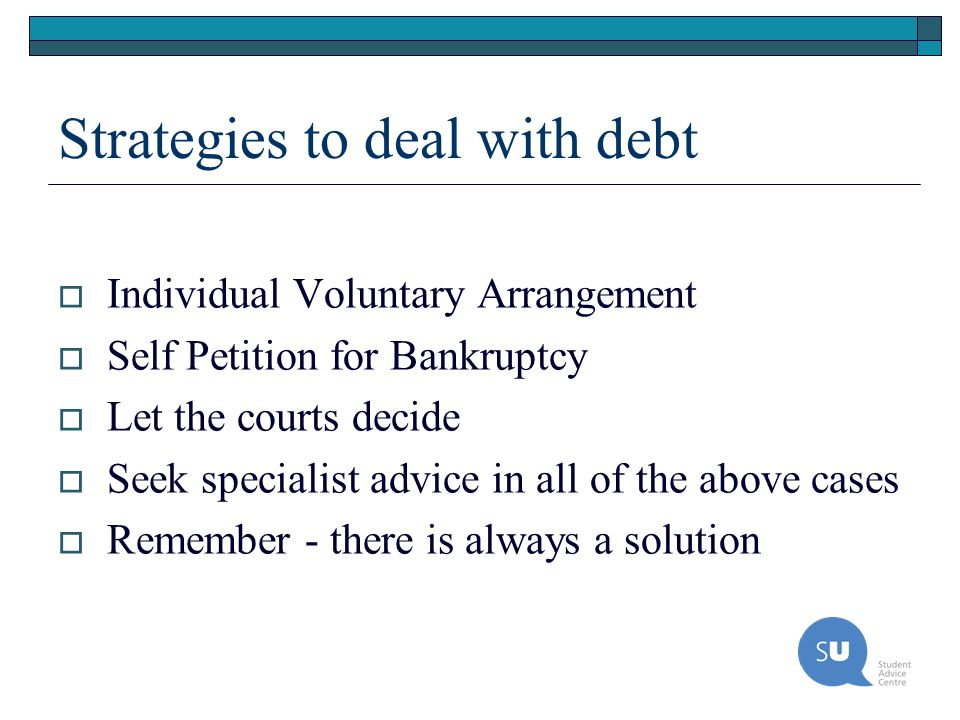 Strategies to deal with debt