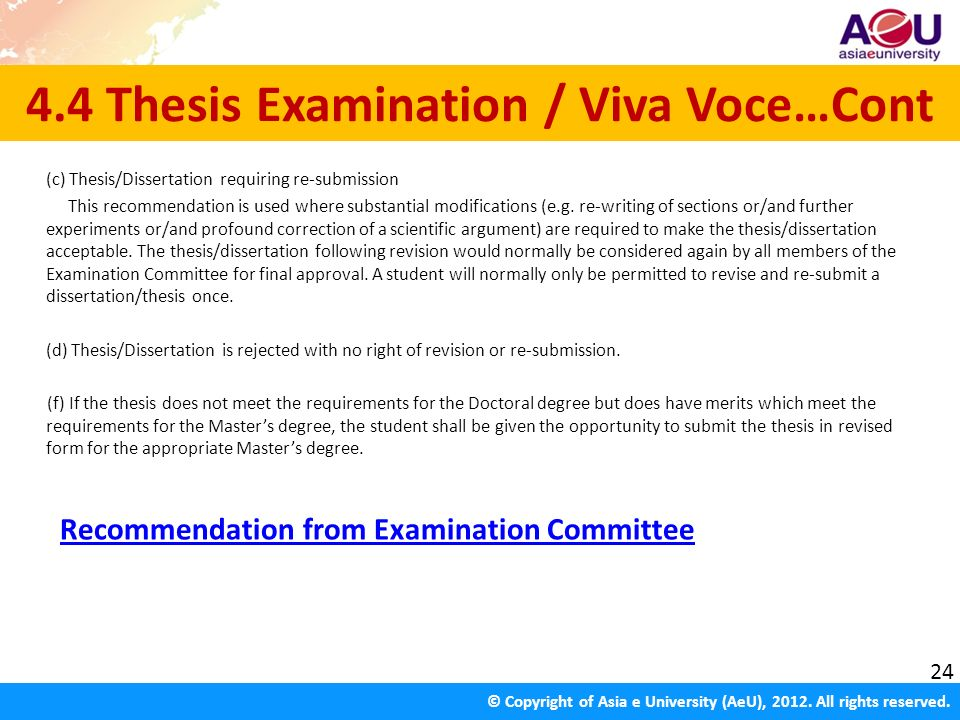 dissertation viva voce All viva voce examinations will be assessed by a group normally comprising three members of the lecturing staff the dissertation co-ordinator will chair the meetings of the team when assessment is discussed and finalised.
