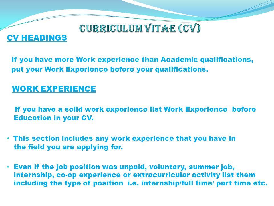 academic qualifications cv - Vaydile.euforic.co