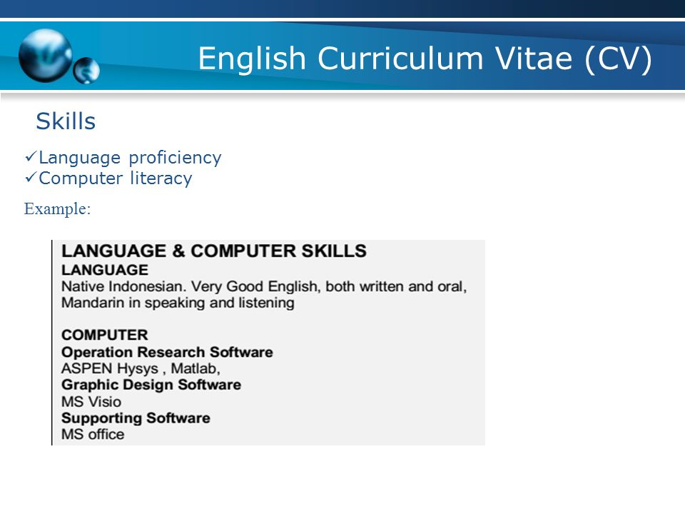 skills language proficiency computer literacy example english curriculum vitae cv - Computer Literacy Resume