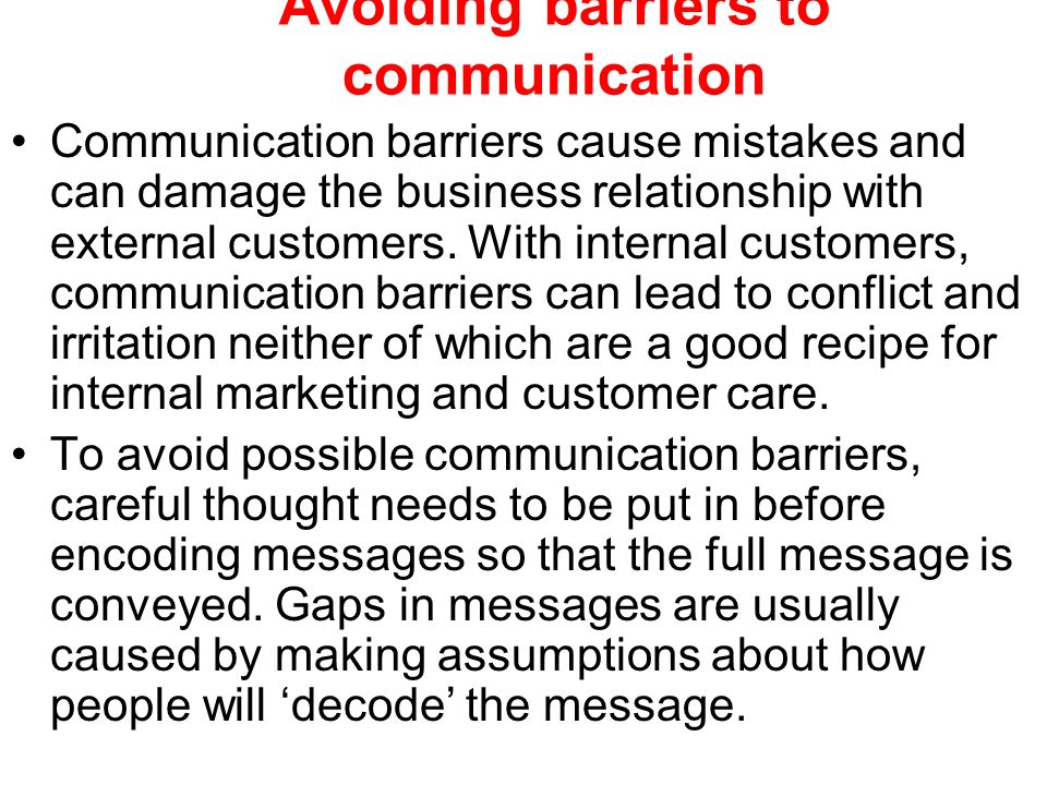 Avoiding barriers to communication