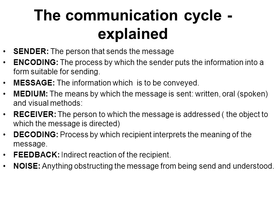 the communication process cycle Process of communication  two-way communication process  this stage is considered the most important part of the cycle successful communication depends.