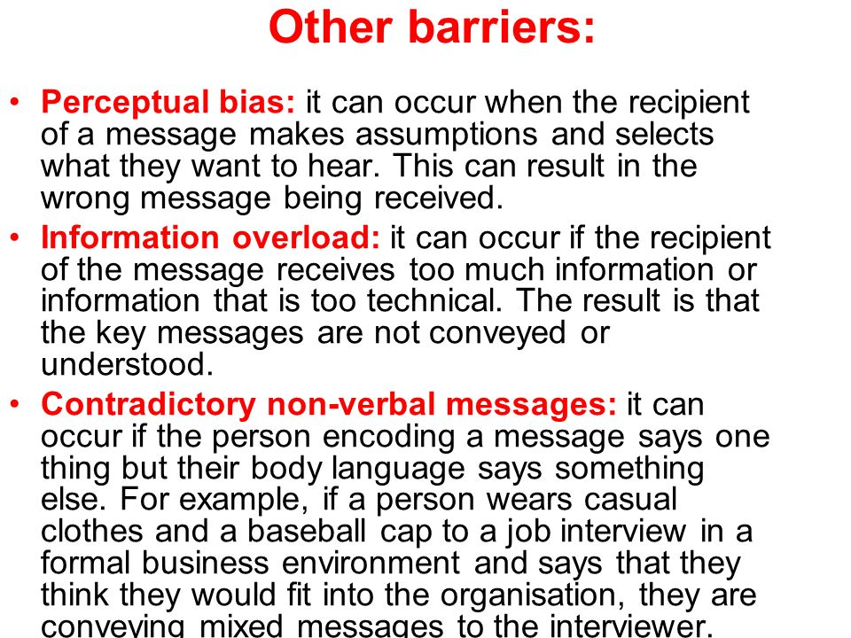 Other barriers: