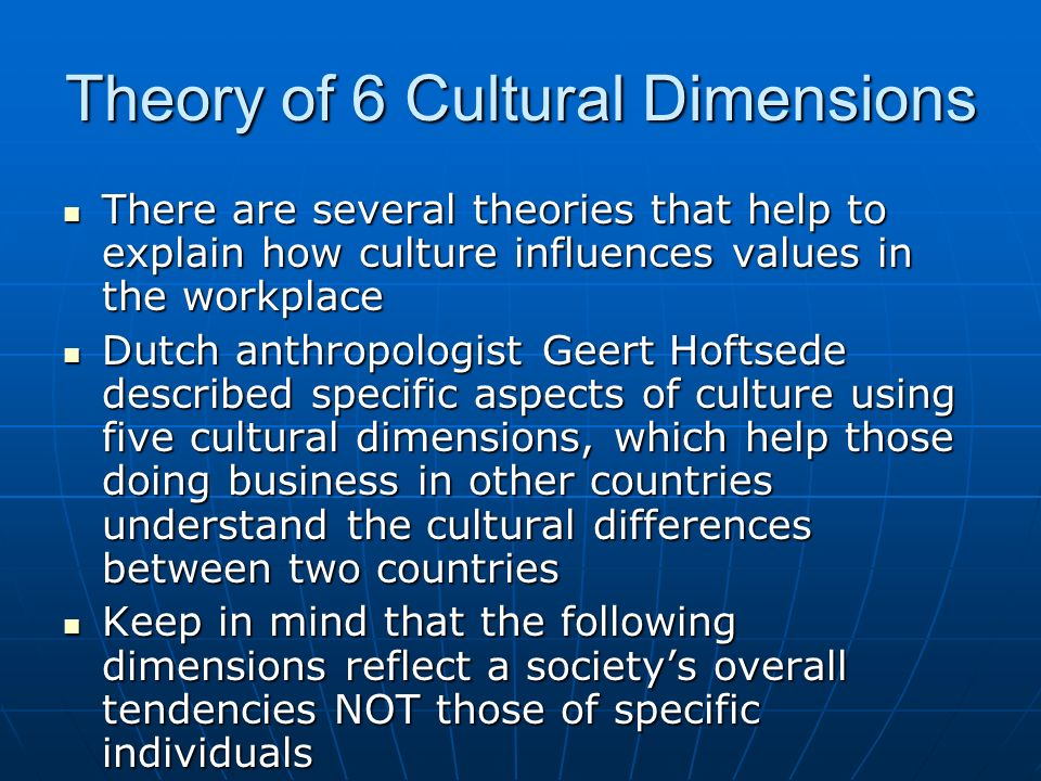 Theory of 6 Cultural Dimensions