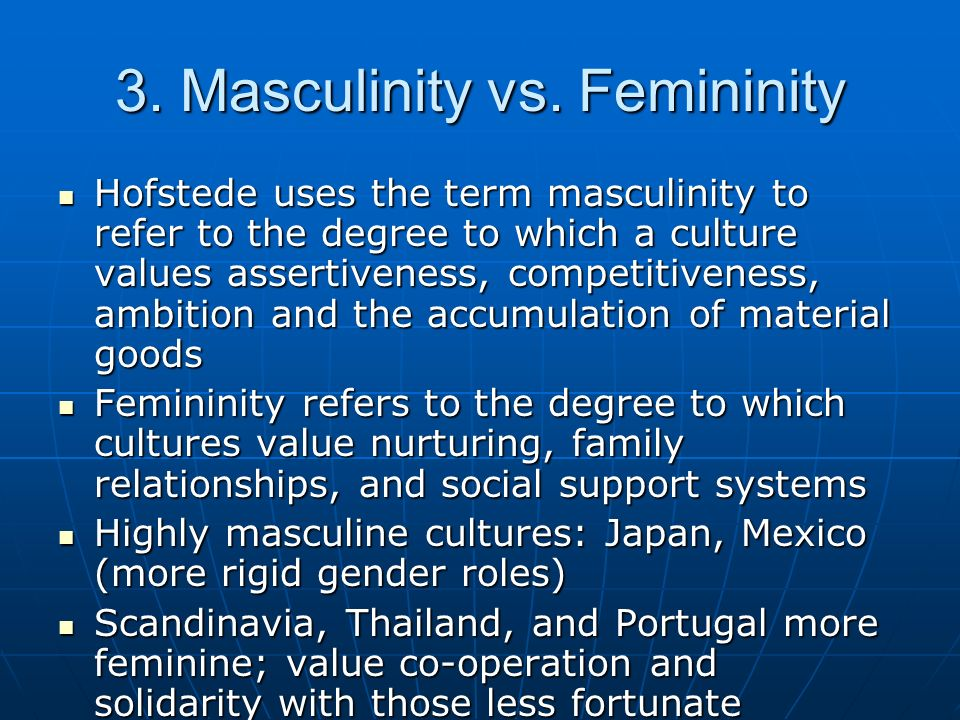 3. Masculinity vs. Femininity