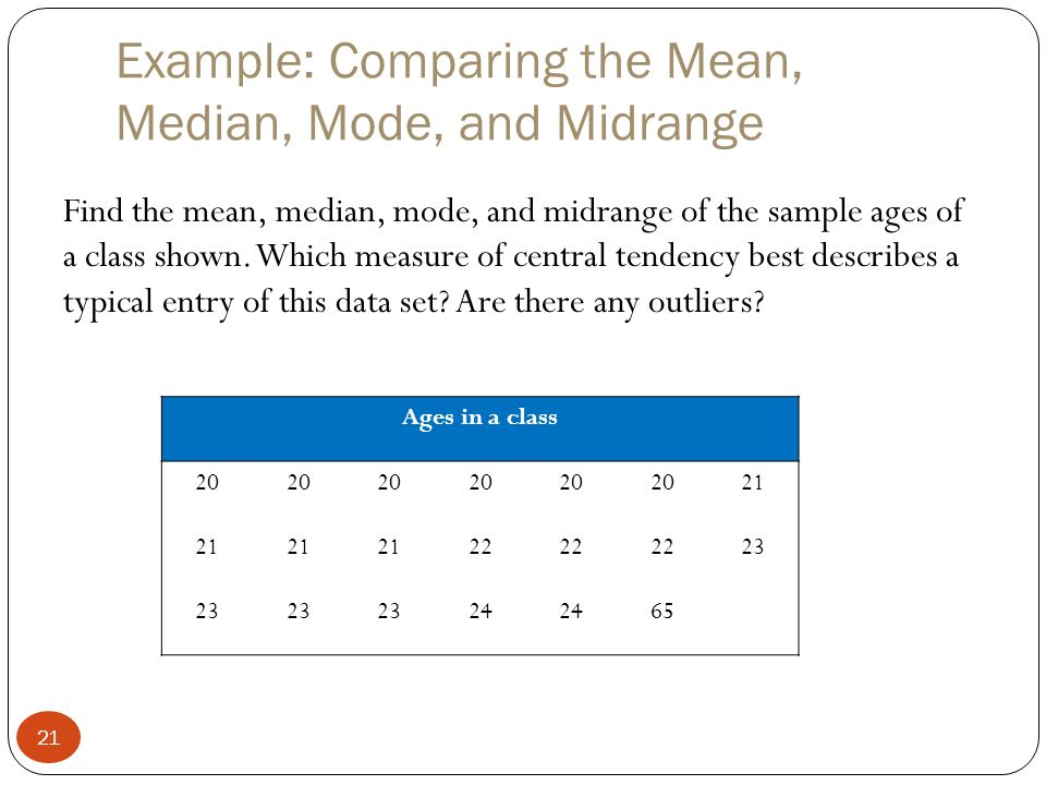 Measures of central tendency ppt video online download example comparing the mean median mode and midrange ccuart Gallery