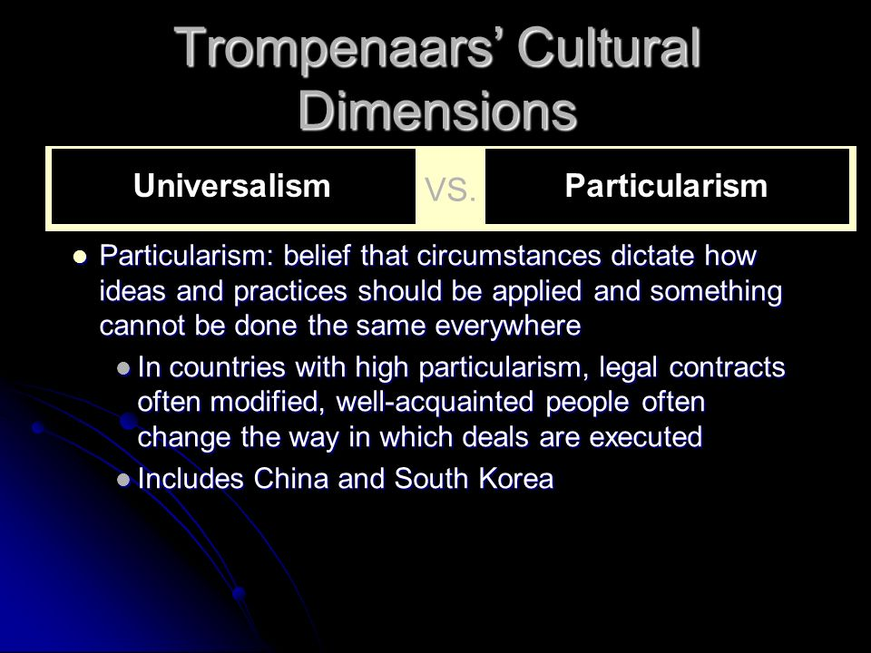 Trompenaars' Cultural Dimensions