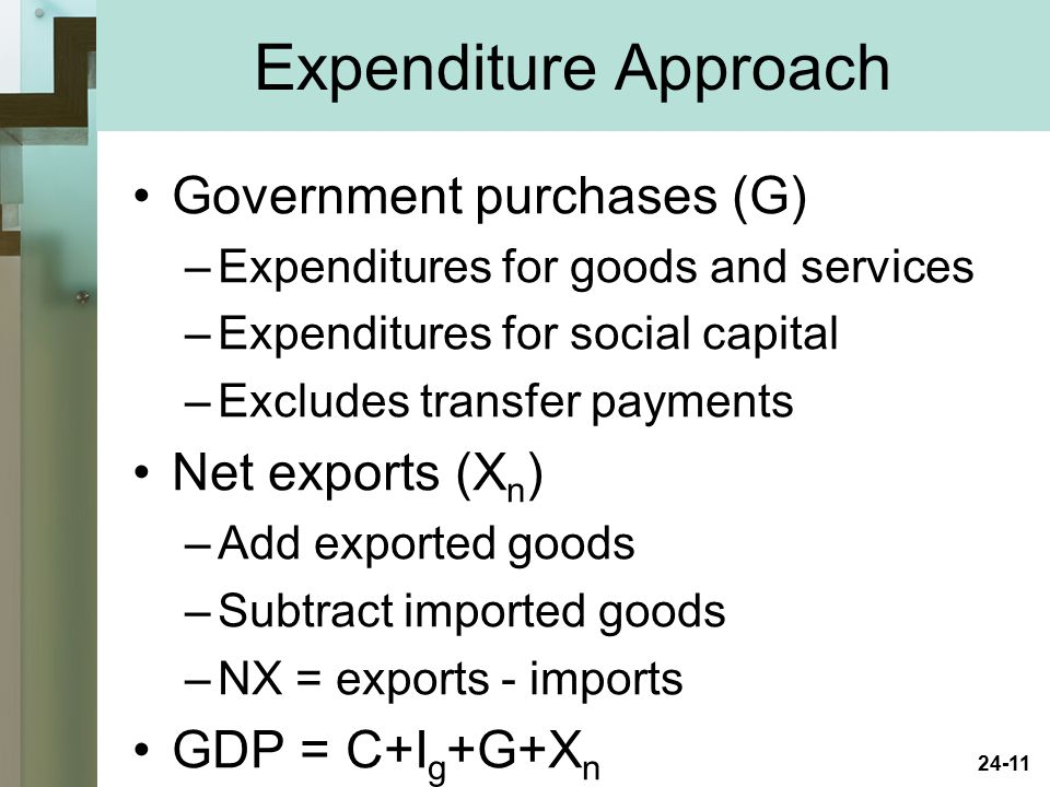 Expenditure Approach Government purchases (G) Net exports (Xn)