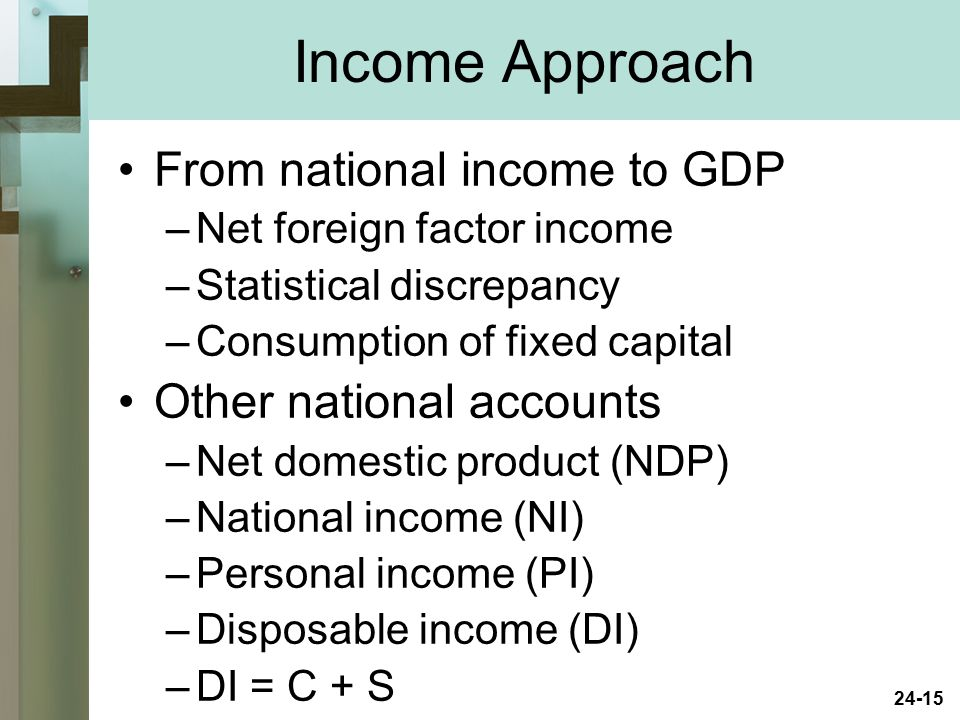 Income Approach From national income to GDP Other national accounts