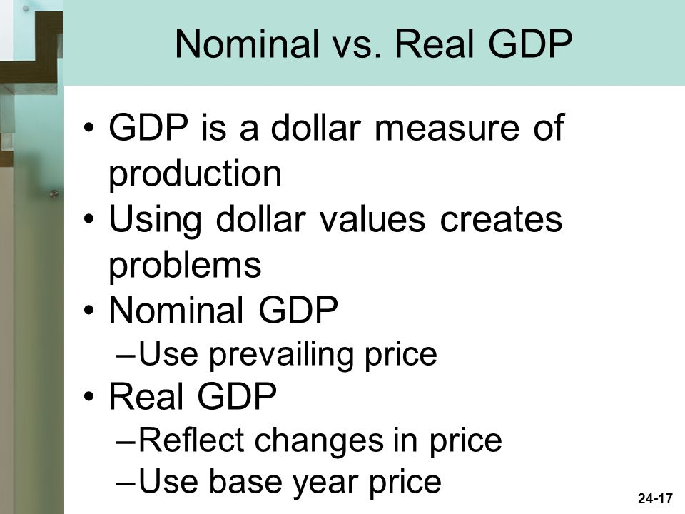 Nominal vs. Real GDP GDP is a dollar measure of production