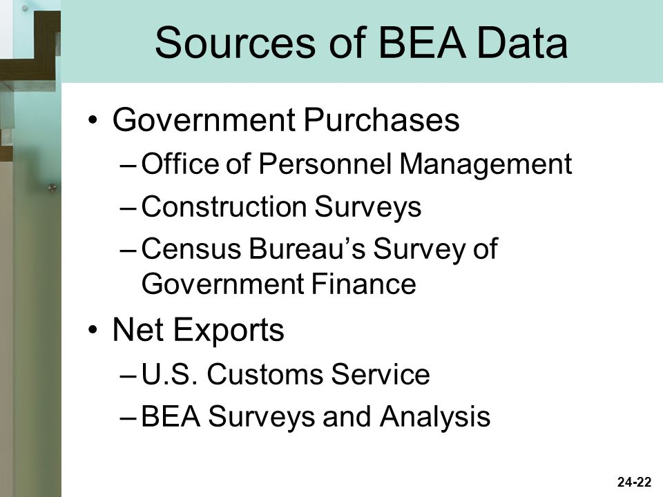 Sources of BEA Data Government Purchases Net Exports