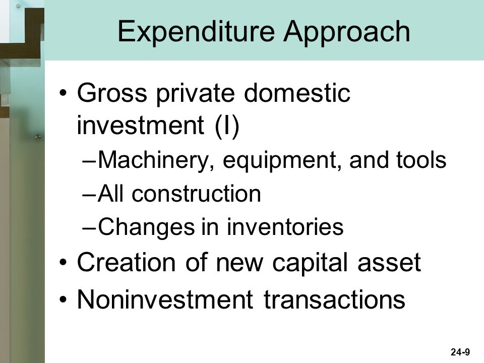 Expenditure Approach Gross private domestic investment (I)