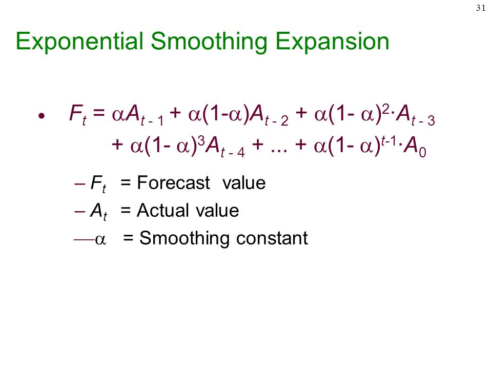 exponential smoothing and actual value Keywords: prediction, exponential smoothing method, aviation equipment  readiness rate abstract  where, t y represents the actual value at the t-th period  1.