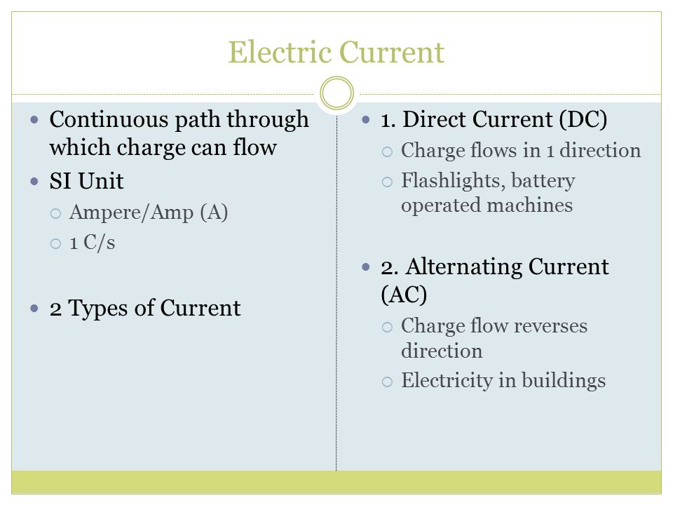 Electric Current Continuous path through which charge can flow SI Unit