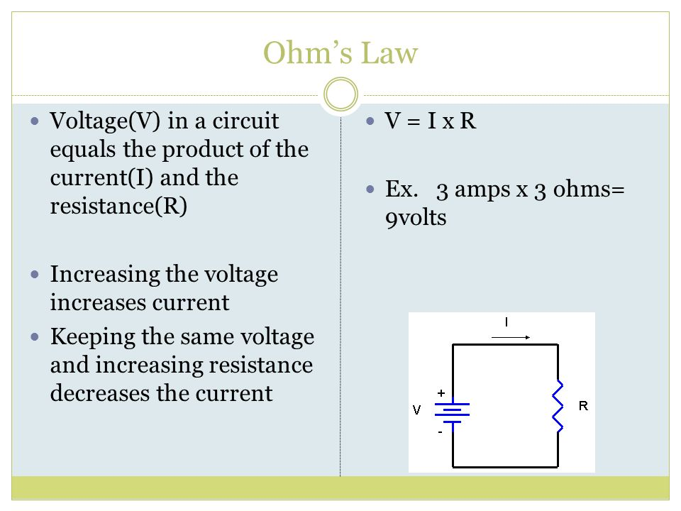 Ohm's Law Voltage(V) in a circuit equals the product of the current(I) and the resistance(R) Increasing the voltage increases current.