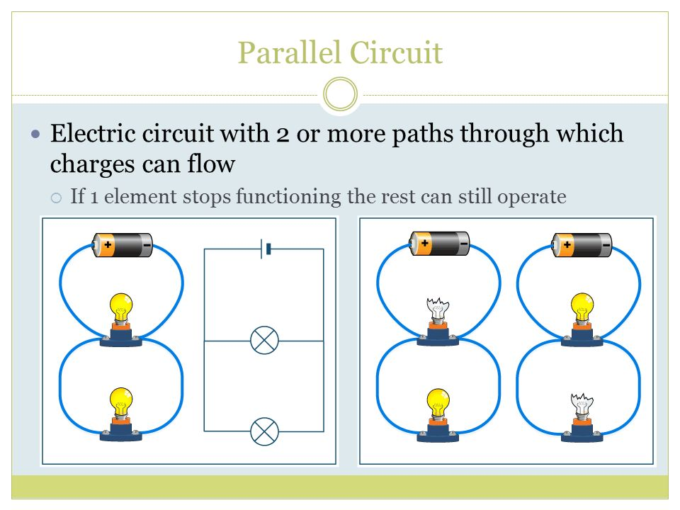 Parallel Circuit Electric circuit with 2 or more paths through which charges can flow.