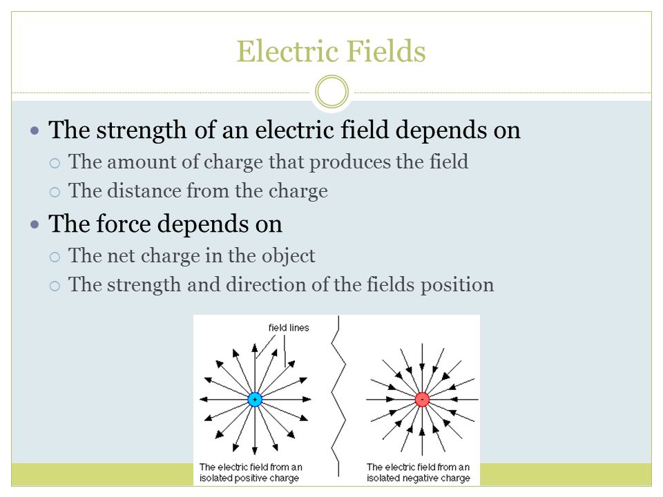 Electric Fields The strength of an electric field depends on