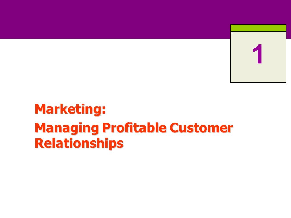 Chapter 1 Marketing Managing Profitable Customer Relationships