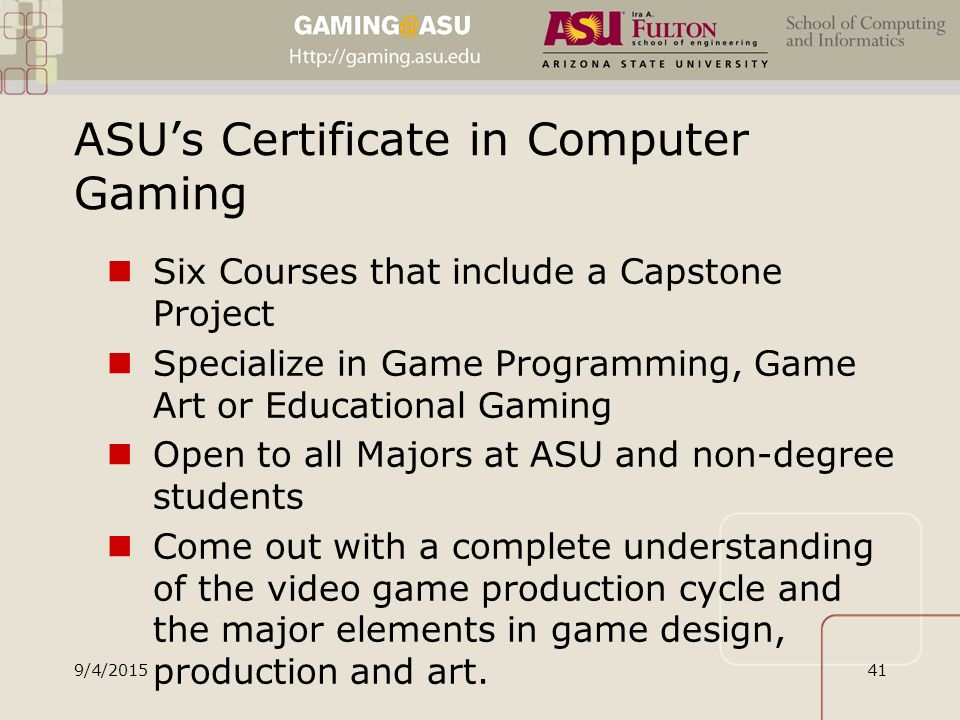 Game Design Certificate Asu