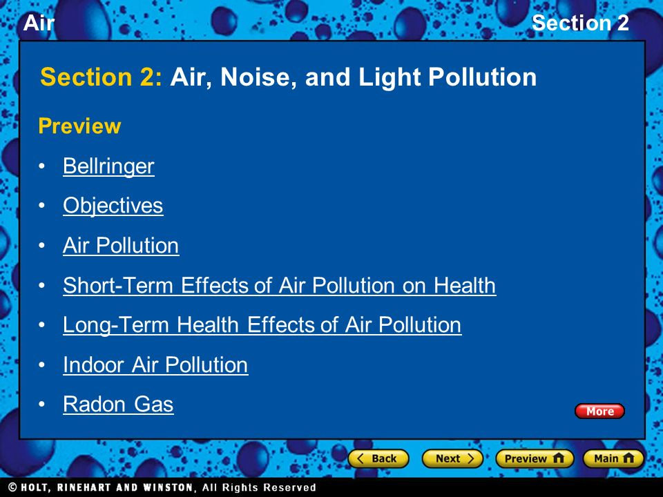 Section 2: Air, Noise, and Light Pollution