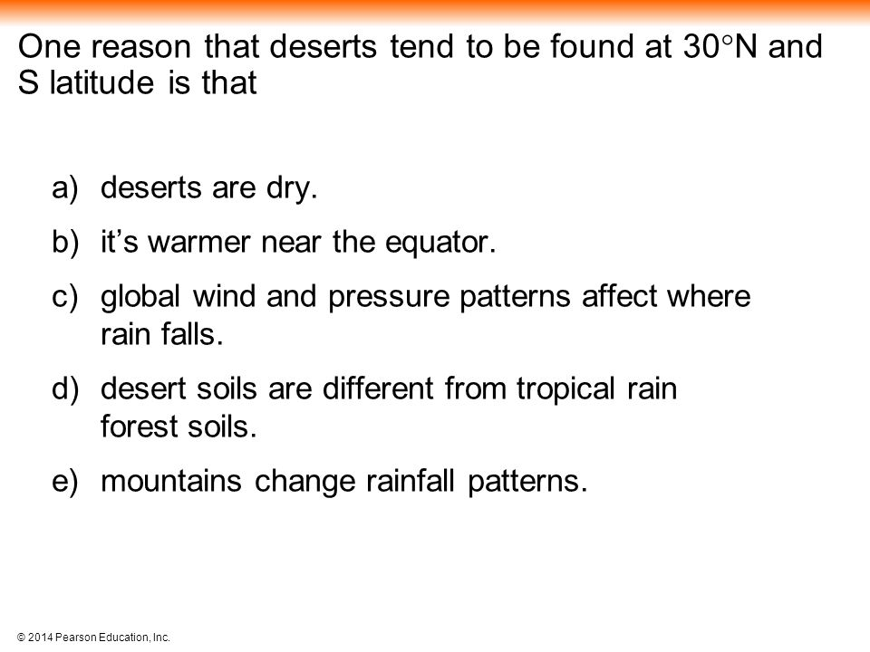 One reason that deserts tend to be found at 30N and S latitude is that