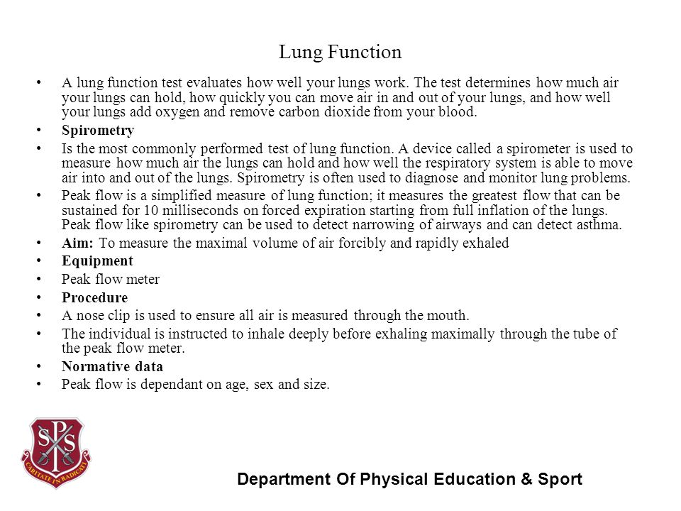 Spirometry and physical fitness test essay