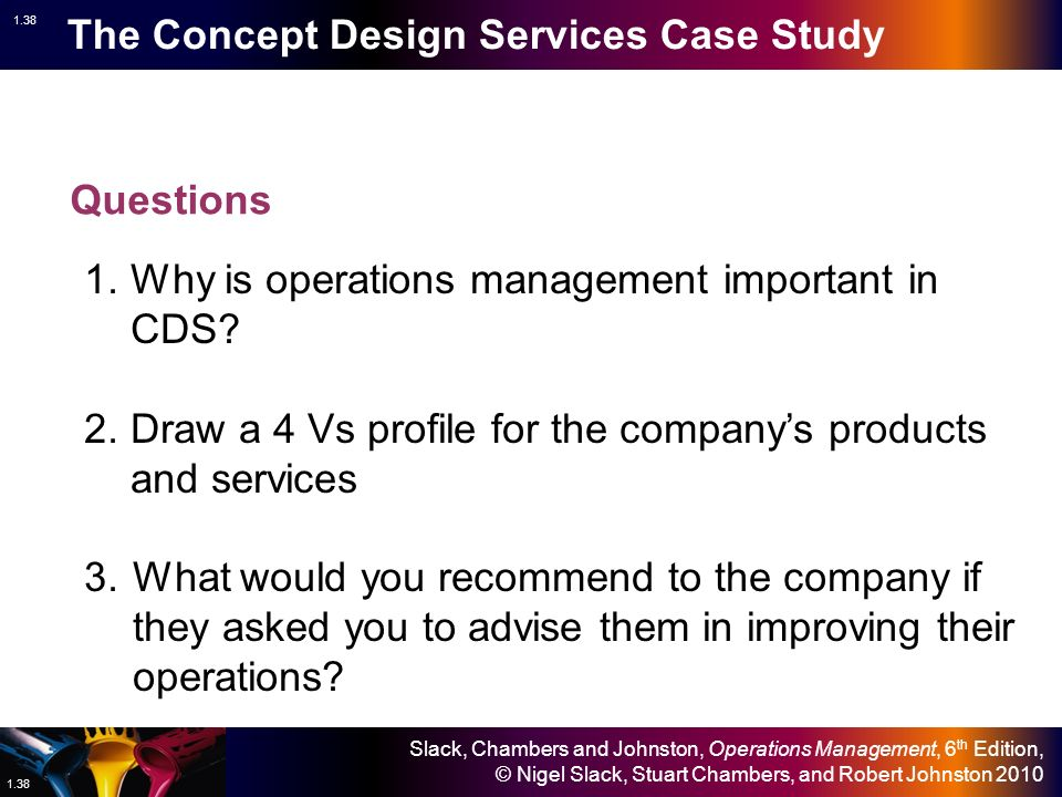 concept design services operation management 1 introduction to operations management 2 competitiveness, strategy, and productivity  ment is the management of systems or processes that create goods and/or pro vide services.
